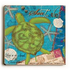 Green Sea Turtle & Wording Vintage Sign: Beach Decor, Coastal Home Decor, Nautical Decor, Tropical Island Decor & Beach Cottage Furnishings