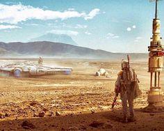 Star Wars, Boba Fett stalking the Millenium Falcon on Tatooine