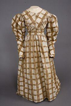 Plaid & Floral Printed Cotton Dress, 1830-1835 - Lot 204 $920
