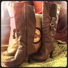 Nice chocolate brown vegan leather boots with heel Great condition as shown in pictures!! Side zip. 2 inch heel. Antique gold hard wear and dark brown sweater material on outside of calls. Very cute and comfortable. Runs true to size. Jasmin Shoes Heeled Boots