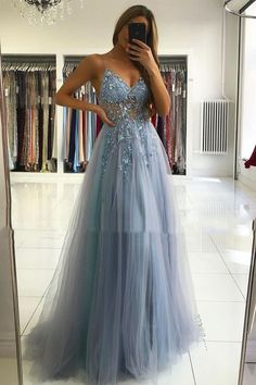 Elegant V-neck Straps Blue Long Prom Dress Tulle Beading Evening Gown T1763 Cheap Prom Dresses Online, A Line Prom Dresses, Tulle Prom Dress, Sexy Wedding Dresses, Event Dresses, Cheap Wedding Dress, Formal Evening Dresses, Homecoming Dresses, Evening Gowns