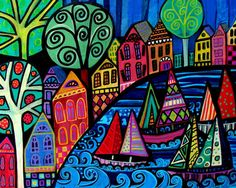 Sailboat Art Print Poster Painting Saltbox Houses Sailboats Primitive Folk Art