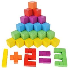 Colorful Wood Toys Building Blocks Set Stacking Game Children Toddler Toys. #Colorful #Wood #Toys #Building #Blocks #Stacking #Game #Children #Toddler