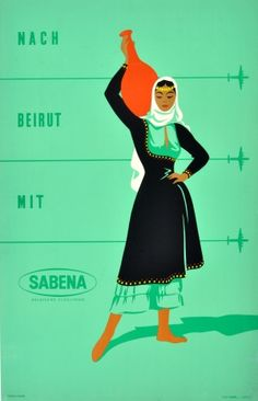Beirut Sabena, 1960s - original vintage poster listed on AntikBar.co.uk