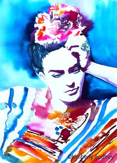 frida kahlo paintings Fine art print of my original watercolour & ink painting. Choice of fine art paper or cotton canvas, available in seven sizes. Art And Illustration, Fashion Illustration Vintage, Illustrations, Diego Rivera, Watercolor Portrait Painting, Watercolor And Ink, Fridah Kahlo, Frida Paintings, Tableau Pop Art