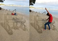 and artist Jamie Harkins (featured previously) is back with a new temporary artwork, a sand piano etched into the beach. The anamorphic land art plays with perspective, elongating lines and distorting the image so it appears 3-dimensional when viewed from a specific angle. For more, check out Jamie's website and Facebook page. 3d sand piano beach art by jamie harkins (4)