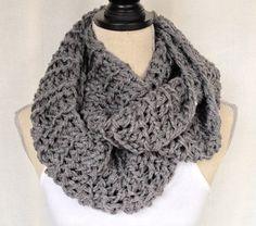 Crochet Infinity Cowl Neckwarmer - Slate Grey on Etsy, $40.00 CAD