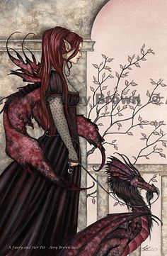 """Faery and Her Pet"" PRINTS-OPEN EDITION - Dragons - Amy Brown Fairy Art - The Official Gallery"