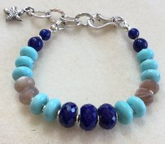 Campitos Turquoise Lapis Lazuli Moonstone Bracelet Fine Sterling 7 to 8 inches Small Medium by IsaStone on Etsy