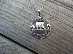 Viking ship necklace handmade in sterling silver by Billyrebs on Etsy