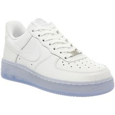 Nike Air Force 1 '07 Prm Wmns ($63) ❤ liked on Polyvore featuring shoes, sneakers, nike, white, hers trainers, trainers, white leather sneakers, white trainers, white shoes and leather low top sneakers