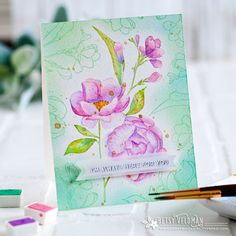 Stamps: Fresh-Cut Flowers Background, Anything-but-Basic Encouragement Betsy Veldman Flower Stamp, Flower Cards, Mft Stamps, Cut Flowers, Pretty Flowers, Pretty Cards, Card Maker, Card Tags, Cardmaking