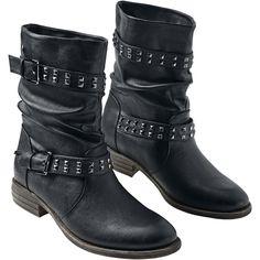 """#Stivali donna neri """"Biker Boot"""" della collezione Black Premium by EMP con borchie. Altezza gambale: 20 cm."""