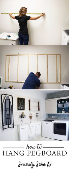Tutorial for how to hang pegboard. Pegboard works well beyond the garage - try it in your laundry room, closets or craft room!  #DIY #organization #home