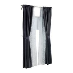 Ikea double curtain rod and curtains for the living room---I want lace curtains to go under my dark ones in my living room. Sheer Curtains Bedroom, Curtains Living, Modern Curtains, Lace Curtains, Blackout Curtains, Window Curtains, Wooden Window Blinds, Blinds For Windows, Coffee Table Inspiration