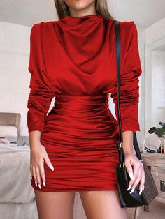 65c6e7f9e1 Long Sleeve Slit Back Ruched Party Dress Vestido Manga Larga Fiesta