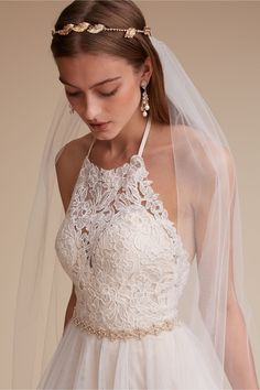make an entrance in this romantic lace halter gown | Josie Gown from BHLDN
