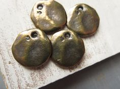 Antiqued brass pendant  flat round coin pendant  by yukidesigns