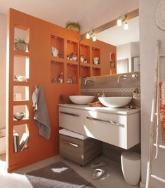 peinture salle de bain les couleurs tendance euro pots et orange. Black Bedroom Furniture Sets. Home Design Ideas