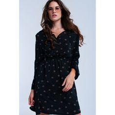 Black midi dress with stars