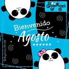 Bienvenido Agosto! Yossho y Pandy le dan la bienvenida a este mes con gran alegría! Recuerda que cada mes tiene algo que lo hace especial... Qué te gusta de Agosto? Saludos! #agosto #mes #bienvenido #guyuminos #frases #tarjeta #ilustracion #pandas