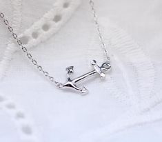Horizontal Sideways Anchor Necklace in Silver