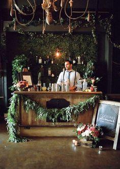 moody romantic bar set up