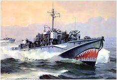 Lancha MTB 728 de la Familia D, con casco de madera y radar type 291. Military Diorama, Military Art, Mtb, Navy Coast Guard, E Boat, Naval, Ship Paintings, Navy Ships, Aviation Art