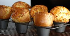 """Popovers are an easy and delicious baked holiday--or anytime--treat. What we in the US call """"popovers"""" are known in Britain as Yorkshire Pudding, and served as an accompaniment to dinner meats. Easy Popover Recipe, Popover Pan, Easy Cooking, Cooking Ideas, Yorkshire, Bread Recipes, Top Recipes, Food To Make, Breakfast"""