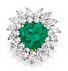 Platinum, 18 Karat Gold, Emerald and Diamond Brooch | Lot | Sotheby's