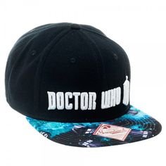 Doctor Who Embossed Logo Space Print Flat Brim Baseball Cap Snapback Hat BBC NWT