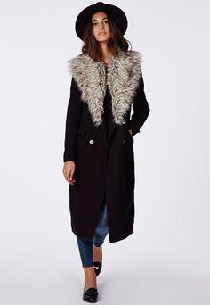 Tendance Chaussures 2017/ 2018 : Missguided - Amalie Faux Fur Collar Wool Coat Black