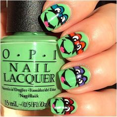 Teenage Mutant NINJA TURTLES!! ✨Nails by @nails_in_style ✨Polish: OPI 'You're So Outta Lime'