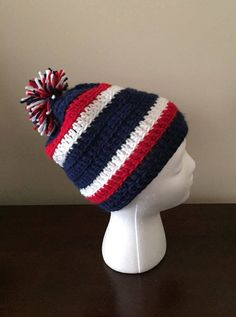 Crocheted New England Patriots hat  beanie by CrochetedByKristina