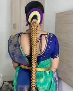Indian Bridal Hairstyles, Bride Hairstyles, Lakshmi Manchu, Indian Flowers, Indian Silk Sarees, Blouse Designs Silk, Pochampally Sarees, Indian Jewelry, Color Combinations