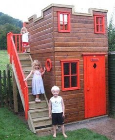 Playhouse ideas range from uncomplicated to very fancy and which playhouse blueprints you decide on will depend on multiple factors. Several years ago my wife sent away for a set of playhouse plans with the notion that I would build i Kids Playhouse Plans, Outside Playhouse, Playhouse Kits, Backyard Playhouse, Build A Playhouse, Playhouse Outdoor, Simple Playhouse, Outdoor Playset, Outdoor Fun