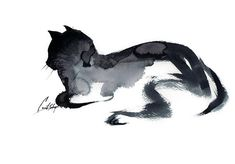 Cat Minimalist Original Watercolor Painting Painting of Cat