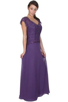 Lace V-Neck Capped Sleeve Top Floor Length Mother Dress