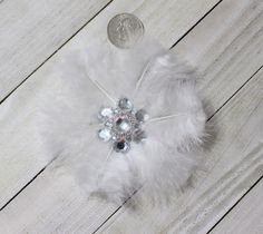 White Feather Flower Embellishment With Rhinestones Center