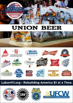 "Celebrate ""Buy Union, Buy American"" month by picking up some delicious union beer for your holiday gathering. Made by the proud members of the UFCW, IAMAW, UAW, and Teamsters. For more union beers, check out our full guide here: http://www.labor411.org/blog/post/union-beer"