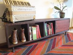 Whitney ~ Handmade Reclaimed Wood Record Cabinet Book Case Tv Stand