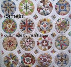 designed and made by Trish Harper, there are 16 different circles for enthusiasts of hand piecing and fussy cutting. this patchwork quilt is a lovely project to make. the finished quilt measures 242cm square ( 95 inches )