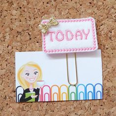 TODAY Paper Clip | Planner Clip | Refrigerator Magnet | Cute Brooch Pin |Organizer| Calendar | Planner Accessory | Filofax  This adorable felt