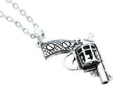$12.00 revolver gun charm necklace free shipping