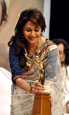 Indian Bollywood film actress Madhuri Dixit Nene attends the 'Deenanath Mangeshkar Puraskar Awards 2012' ceremony in Mumbai on April 24, 2012.