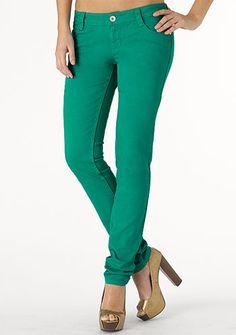 Paris Blues Colored Skinny Jean in Green