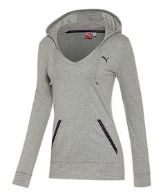 PUMA Athletic Gray Heather Holiday Hoodie - Women 2dba62b384b35