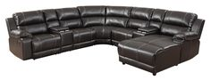 This 7 Pcs espresso sectional will give you plenty of space for your whole family to sit and enjoy a movie together. It is made of solid and manufactured select wood, bronze color stitching and a right facing chaise. The pillow back and soft leather will give you the most comfortable seating on any seat on this sectional. This sectional comes with 2 storage unit and cup holders