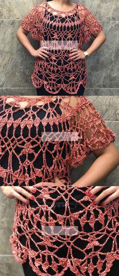 Blusa tejida para el verano. // Summer garment. Crochet Skirts, Crochet Clothes, Crochet Flowers, Crochet Lace, Shorts E Blusas, Crochet Scarf Tutorial, Boho Style Dresses, Crochet Books, Crochet Woman