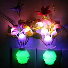 Taozi 2PCS Kids Night light Color Changing Flower Plug In LED Mushroom Nightlight Wall Lights (Cream)